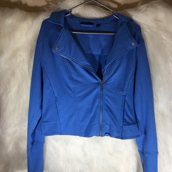 H by Halston Jackets & Blazers - Halston Blue Moto Jacket Cotton Size 10